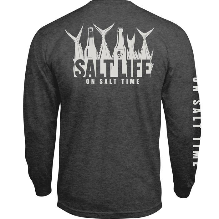 Salt Life Men's 5 O'clock Somewhere T-shirt Charcoal Heat...