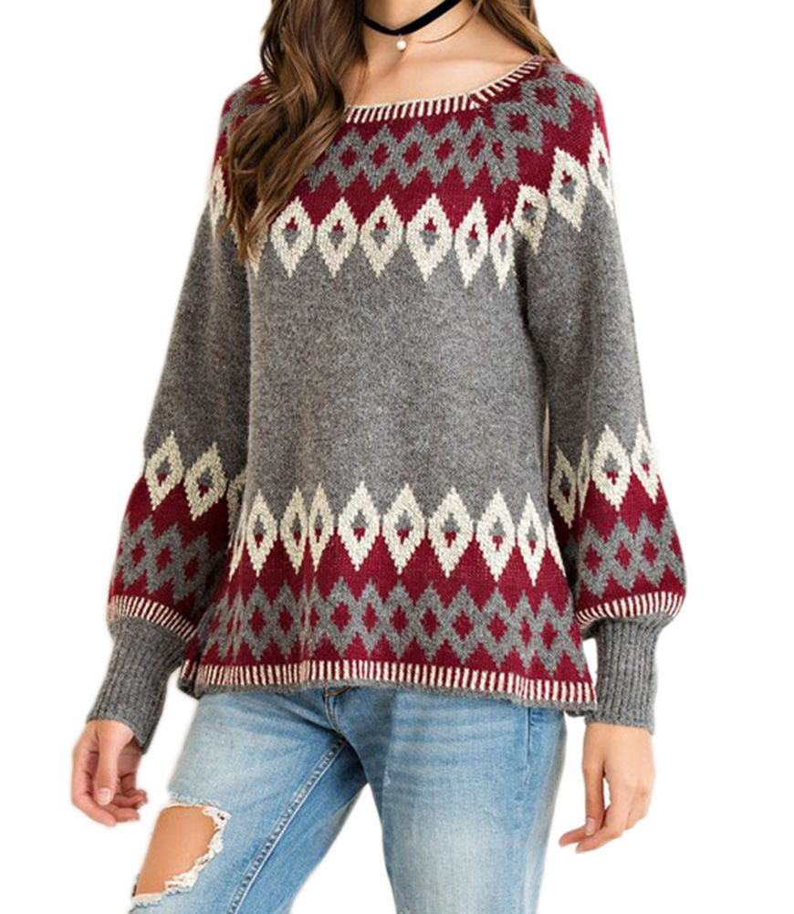 Entro Women's Aztec Sweater Charcoal - S By Houser Shoes