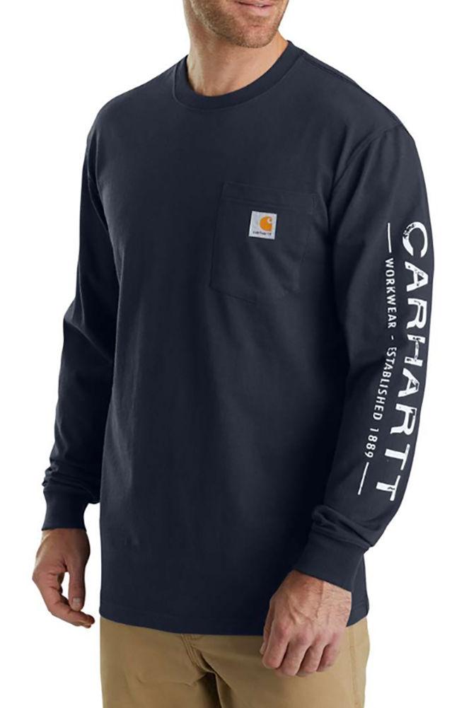 cad3df69b5e Carhartt Men s Workwear Logo Sleeve Graphic Long Sleeve T-Shirt